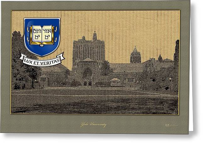Coa Greeting Cards - Yale University building overlaid with 3D Coat of Arms Greeting Card by Serge Averbukh