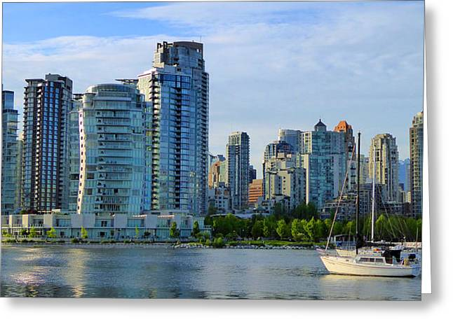 Yaletown Greeting Cards - Yaletown Waterfront Greeting Card by Laurie Tsemak