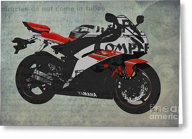 Advertising Mixed Media Greeting Cards - Yamaha and the newspaper cuts Greeting Card by Pablo Franchi