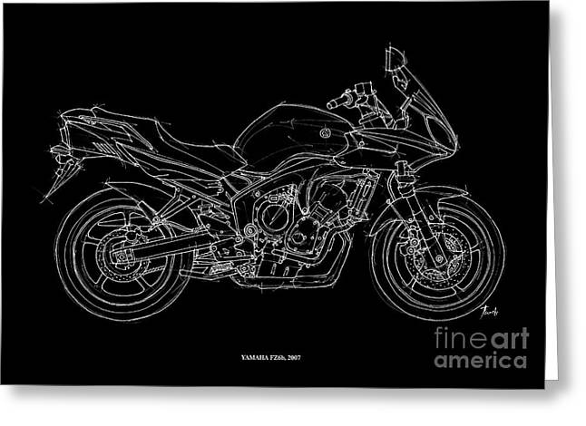 Motorcycles Pastels Greeting Cards - Yamaha FZ6b 2007 Greeting Card by Pablo Franchi