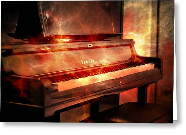 Metal Sheet Greeting Cards - Yamaha piano  Greeting Card by Toppart Sweden