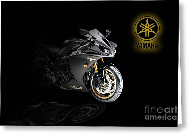 Yamaha Greeting Cards - Yamaha R1 Greeting Card by J Biggadike