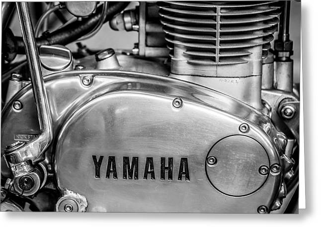 Yamaha Greeting Cards - Yamaha Racing Bike Engine Kick Start - Square - Black and White Greeting Card by Ian Monk