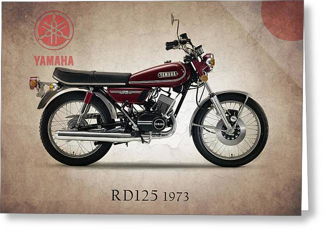Yamaha Greeting Cards - Yamaha RD125 1973 Greeting Card by Mark Rogan
