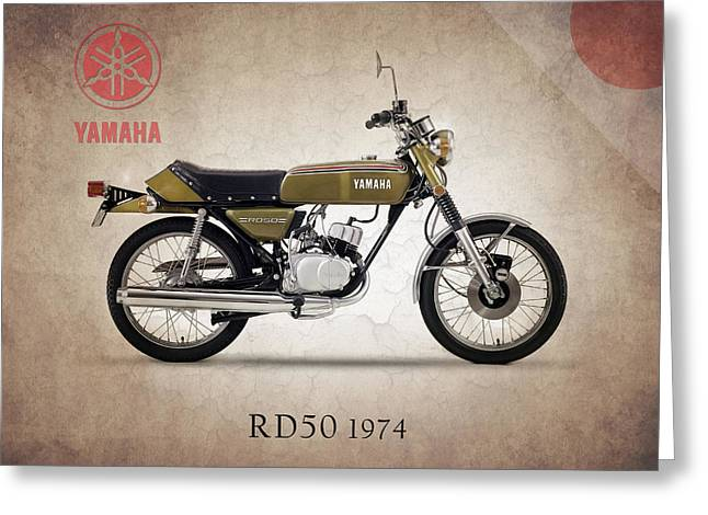 Yamaha Greeting Cards - Yamaha RD50 1974 Greeting Card by Mark Rogan
