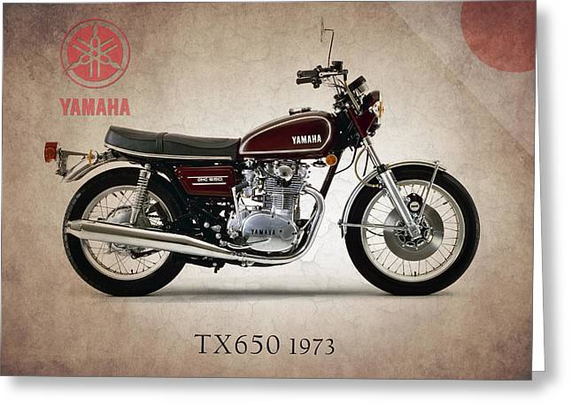 Yamaha Greeting Cards - Yamaha TX650 1973 Greeting Card by Mark Rogan