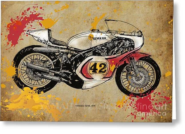 Yamaha Greeting Cards - Yamaha TZ750 1979 Greeting Card by Pablo Franchi