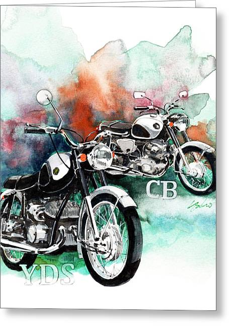 Yamaha Greeting Cards - Yamaha YDS and Honda CB72 Greeting Card by Yoshiharu Miyakawa