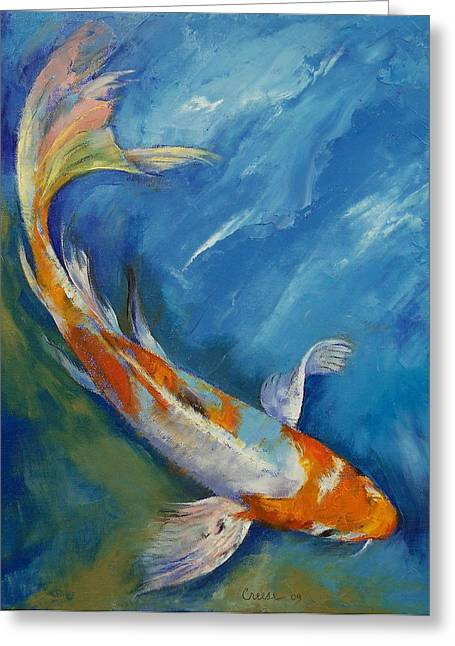 Japanese Koi Greeting Cards - Yamato Nishiki Koi Greeting Card by Michael Creese