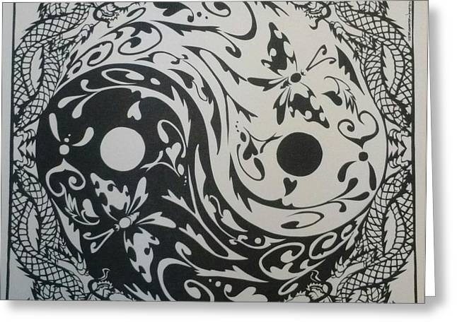 Dragon Tapestries - Textiles Greeting Cards - Yang Greeting Card by Eric Fronapfel
