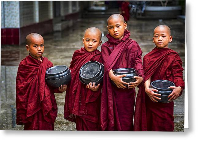 Conservative Greeting Cards - Yangon Young Monks Greeting Card by David Longstreath