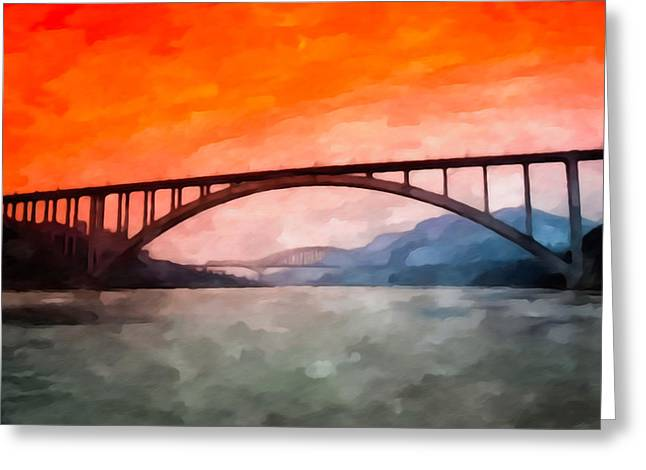 Double Span Concrete Bridge Greeting Cards - Yangtze river bridge Greeting Card by Lanjee Chee