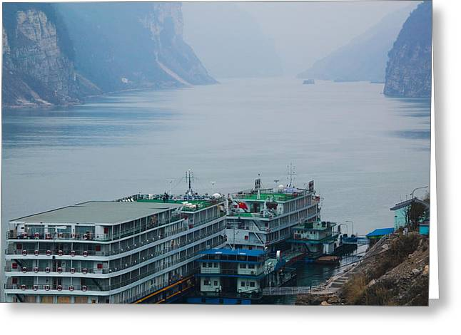 Cruise Ships Greeting Cards - Yangtze River Cruise Ships At Anchor Greeting Card by Panoramic Images