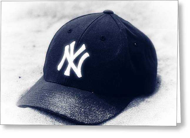 Ny Yankees Baseball Art Greeting Cards - Yankee Cap blue toned Greeting Card by John Rizzuto
