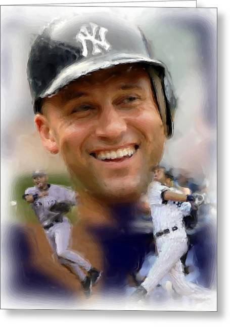 Yankees Shortstop Greeting Cards - Yankee Captain Greeting Card by Brian Menasco