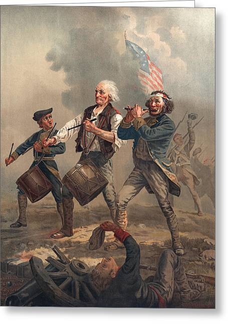 Playing Musical Instruments Greeting Cards - Yankee Doodle Or The Spirit Of 76, Published By J.f. Ryder After Archibald M. Willard Chromolitho Greeting Card by Archibald Willard