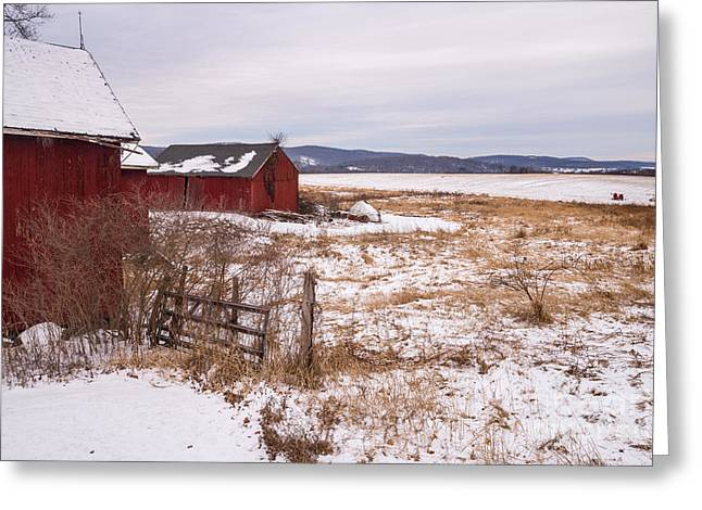 Pastureland Greeting Cards - Yankee Farmlands No 22 - New England Farm During Winter Greeting Card by JG Coleman