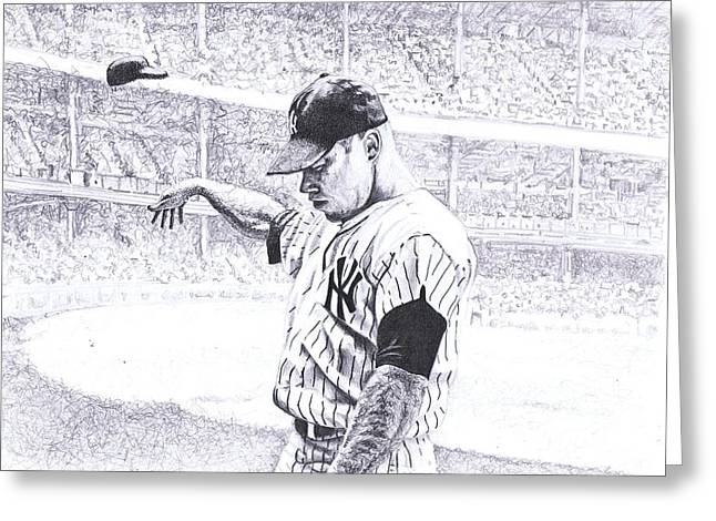 New York Stadiums Drawings Greeting Cards - Yankee Forever Greeting Card by Paul Smutylo