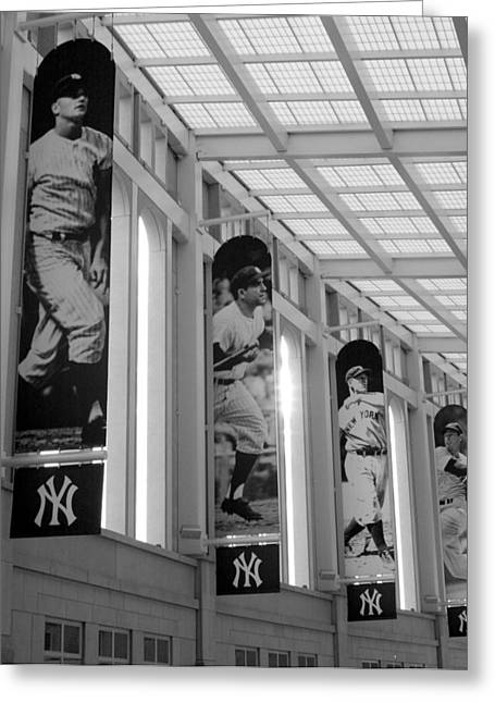 Yogi Berra Greeting Cards - Yankee Greats of Yesteryear in Black And White Greeting Card by Aurelio Zucco