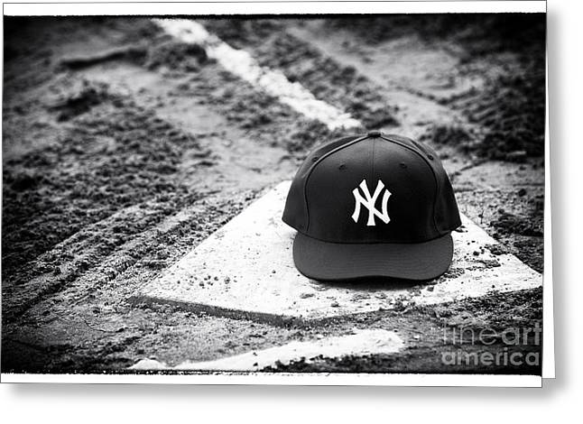 Baseball Art Print Greeting Cards - Yankee Home Greeting Card by John Rizzuto