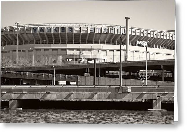 Baseball Stadiums Greeting Cards - Yankee Stadium    1923  -  2008 Greeting Card by Daniel Hagerman
