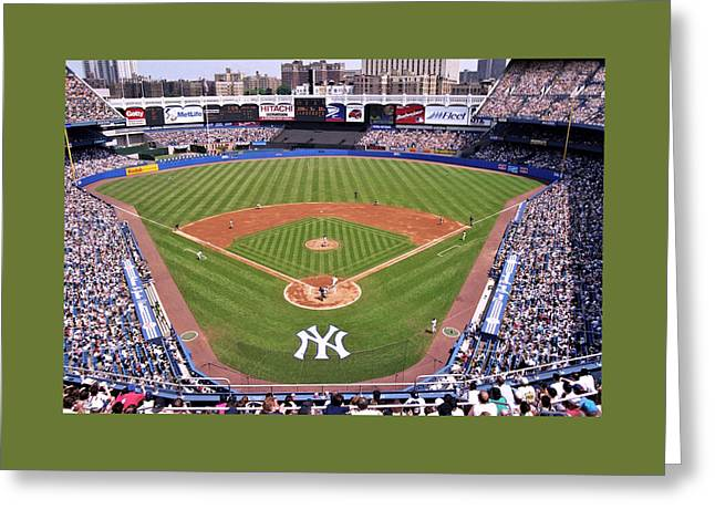 Famous Athletes Greeting Cards - Yankee Stadium Greeting Card by Allen Beatty