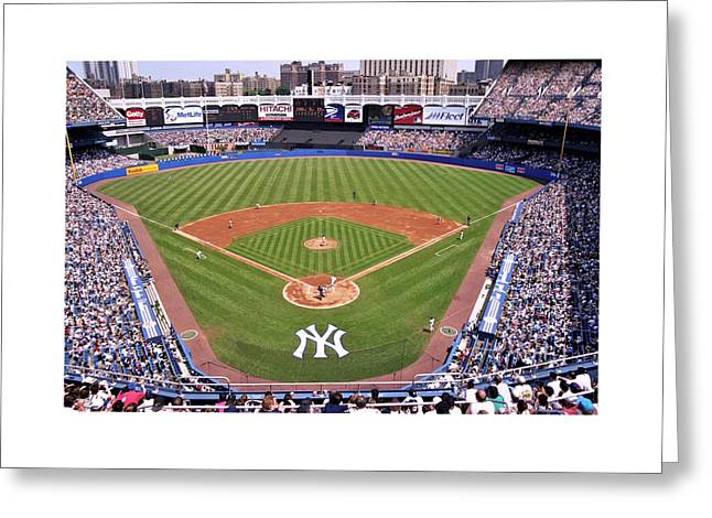 Famous Cities Greeting Cards - Yankee Stadium Greeting Card by Allen Beatty