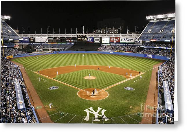 Bronx Bombers Greeting Cards - Yankee Stadium Greeting Card by Chuck Spang