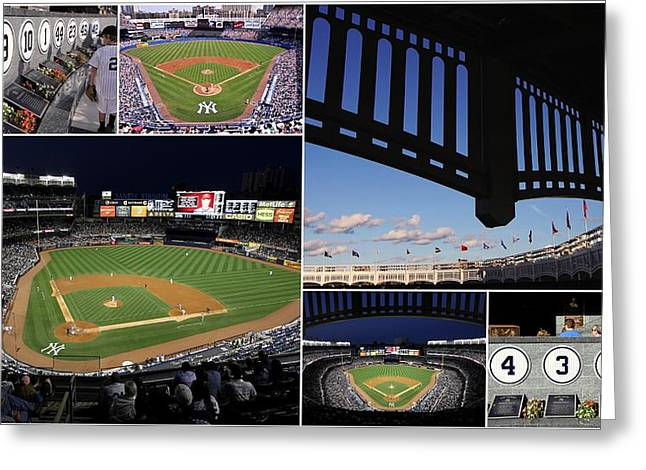Old Pitcher Greeting Cards - Yankee Stadium Collage Greeting Card by Allen Beatty