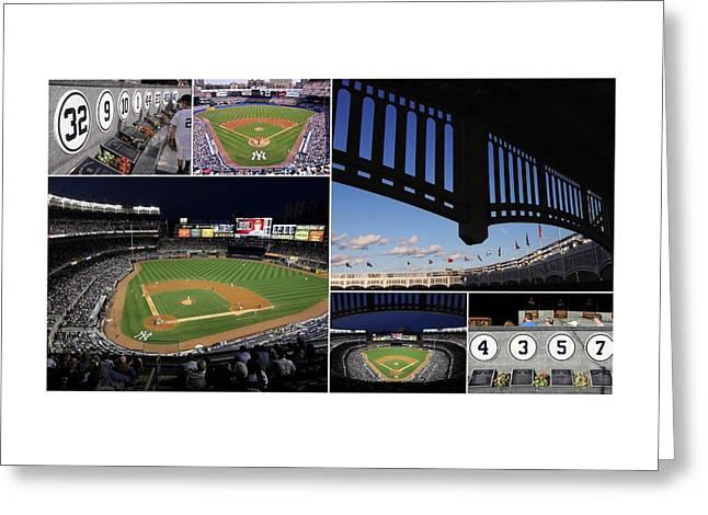 Yankee Stadium Collage Greeting Card by Allen Beatty