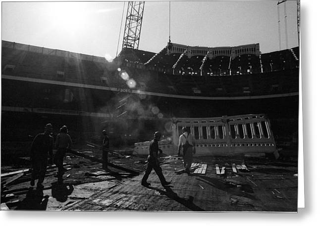 Baseball Stadiums Greeting Cards - 1973 Yankee Stadium Copper Frieze Greeting Card by Ross Lewis