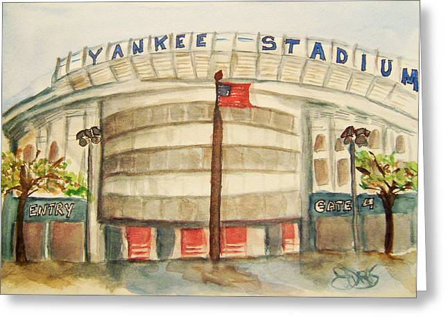 Baseball Stadiums Paintings Greeting Cards - Yankee Stadium  Greeting Card by Elaine Duras