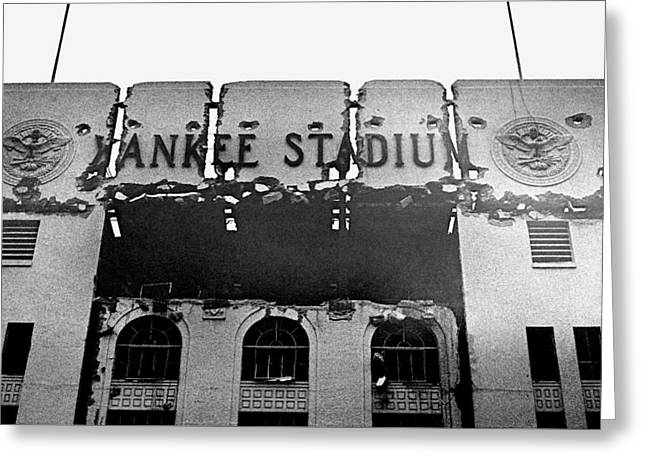 Baseball Stadiums Greeting Cards - Winter 1974 Yankee Stadium Exterior Entrance Greeting Card by Ross Lewis