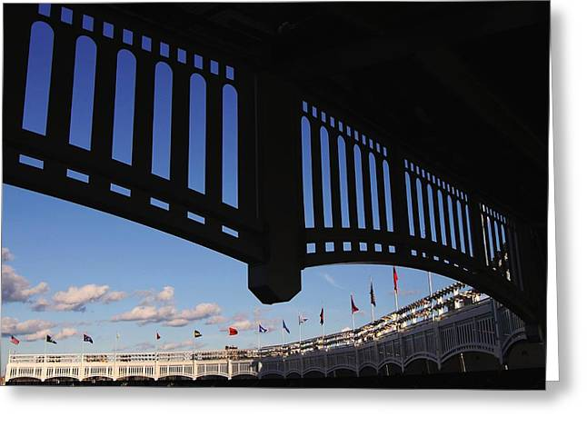 Old Pitcher Greeting Cards - Yankee Stadium Facade Greeting Card by Allen Beatty