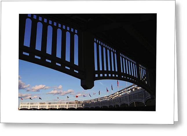 Yankee Stadium Bleachers Greeting Cards - Yankee Stadium Facade Greeting Card by Allen Beatty