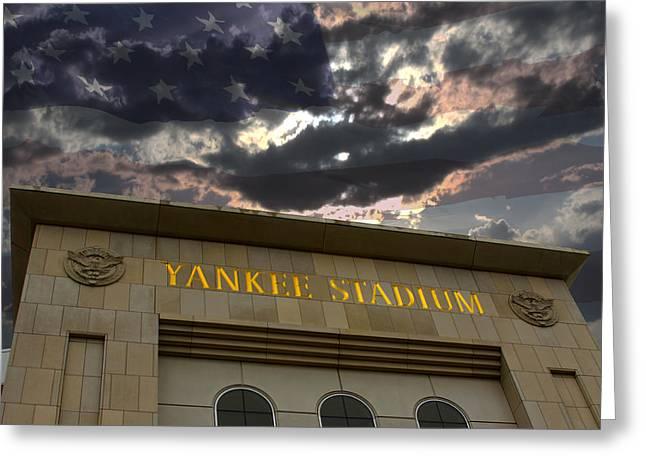Yankee Stadium Ny Greeting Card by Chris Thomas