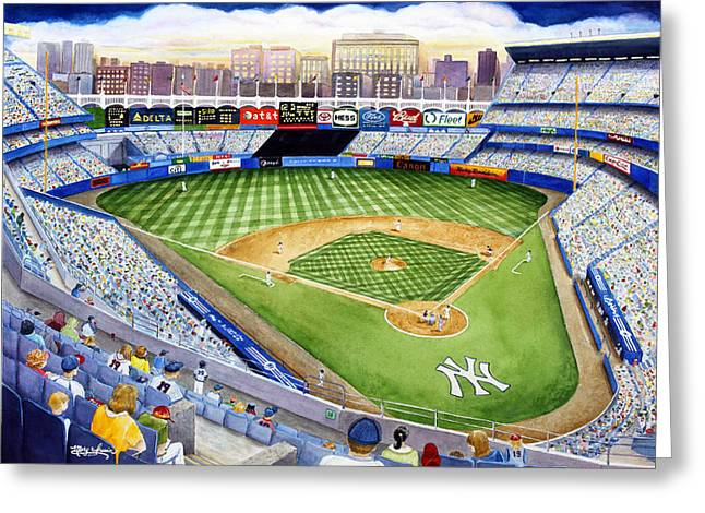 Baseball Paintings Greeting Cards - Yankee Stadium - The House That Ruth Built Greeting Card by Mary Irwin