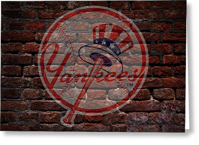 Centerfield Greeting Cards - Yankees Baseball Graffiti on Brick  Greeting Card by Movie Poster Prints