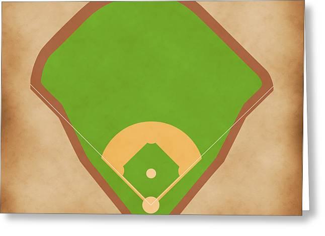 Baseball Glove Greeting Cards - Yankees Field Greeting Card by Carl Scallop