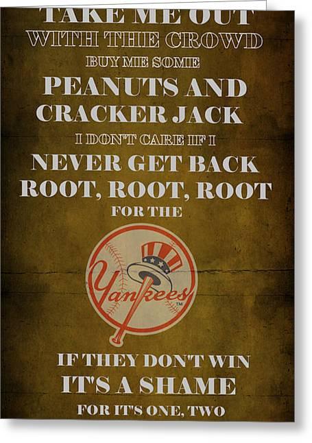Baseball Game Digital Art Greeting Cards - Yankees Peanuts and Cracker Jack  Greeting Card by Movie Poster Prints