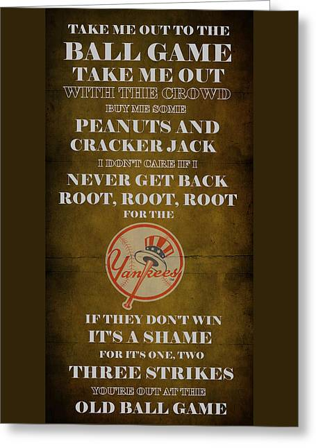 Cabin Wall Greeting Cards - Yankees Peanuts and Cracker Jack  Greeting Card by Movie Poster Prints