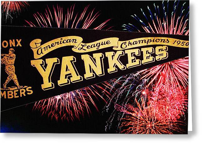 Bronx Bombers Greeting Cards - Yankees Pennant 1950 Greeting Card by Bill Cannon