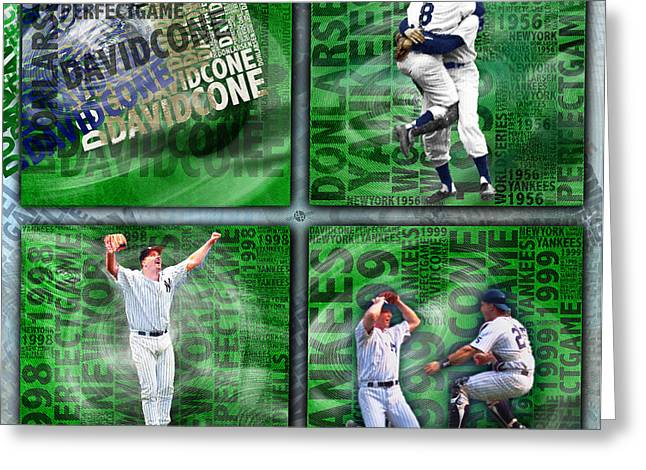 Baseball Uniform Greeting Cards - Yankees Perfect Game Combo Larsen Wells Cone Greeting Card by Tony Rubino