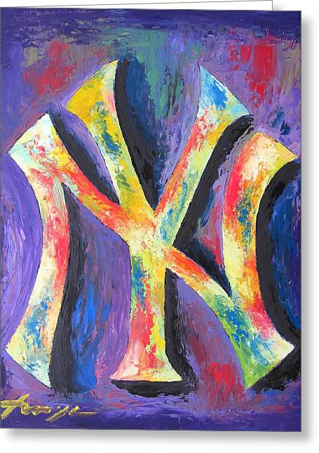 Impressionistic Greeting Cards - New York YANKEES Baseball Greeting Card by Dan Haraga