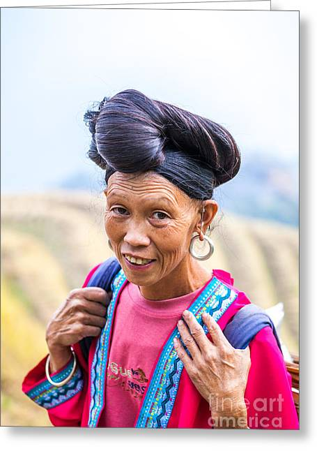Ethnical Greeting Cards - Yao ethnic minority women on rice terrace Guilin China Greeting Card by Matteo Colombo