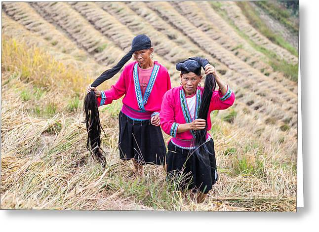 Ethnical Greeting Cards - Yao ethnic minority women on rice terrace Greeting Card by Matteo Colombo
