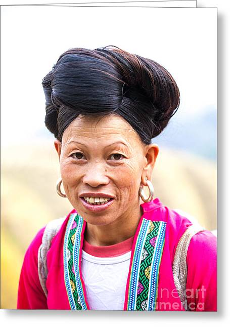 Ethnical Greeting Cards - Yao ethnic minority women with long hair on rice terrace Guilin China Greeting Card by Matteo Colombo