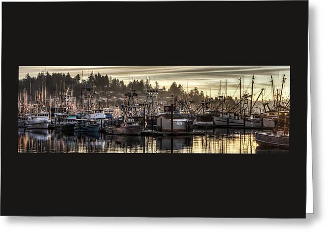 Photo Art Gallery Greeting Cards - Yaquina Bay Boat Basin At Dawn Greeting Card by Thom Zehrfeld