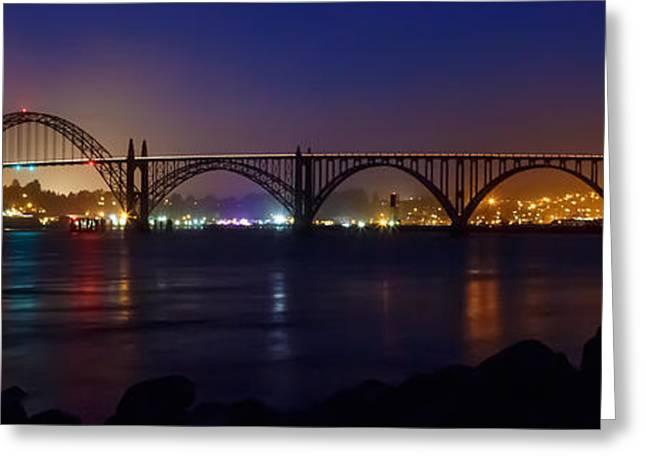 Yaquina Bay Bridge Greeting Cards - Yaquina Bay Bridge At Night Greeting Card by James Eddy