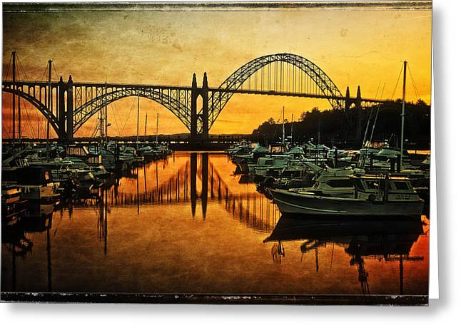 Fishing Boats Greeting Cards - Yaquina Bay Bridge At Sunset Greeting Card by Thom Zehrfeld